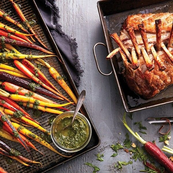 Impress your guests with this roasted rack of lamb, served with carrots and a carrot top pesto. Get the recipe at Chatelaine.com