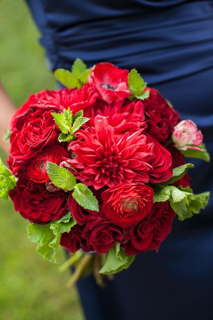 Red rose dahlia ranunculus bridesmaid bouquets flowers