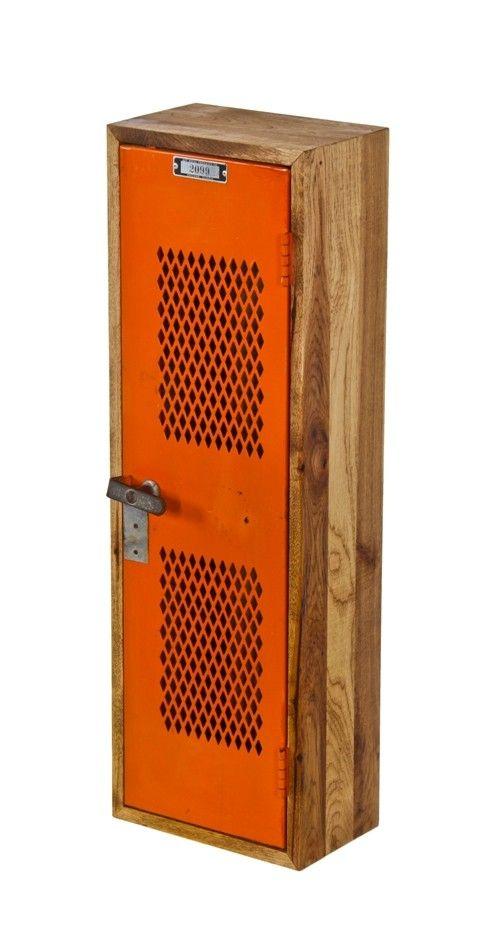 Compact Repurposed American Industrial Single Orange Enameled Hinged Door  Locker Unit With Sturdy Hickory Wood Cabinet