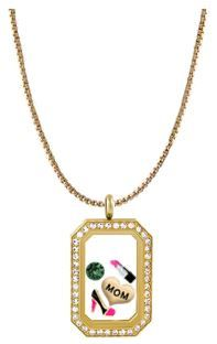 "This Virtual Locket design features a 24-26"" Gold Cube Chain, the Gold Heritage Living Locket with Swarovski Crystals and the following charms: Gold Mom Heart, Gold Closed Toe Heel, Lipstick, and a May Crystal Birthstone by Swarovski. ~Toni~"