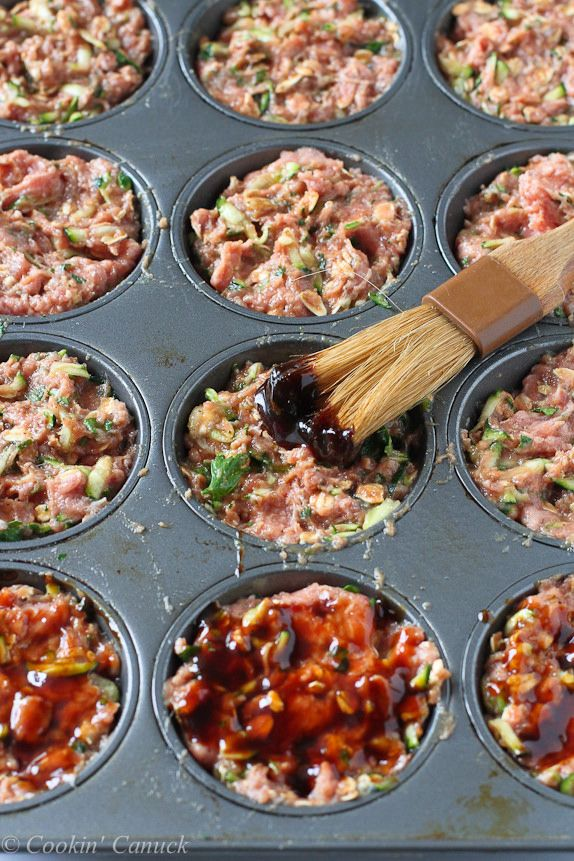 Mini Hoisin Turkey and Zucchini Meatloaf Muffins...Quick and so darn tasty for dinner! 136 calories and 3 Weight Watchers PP | cookincanuck.com #recipe
