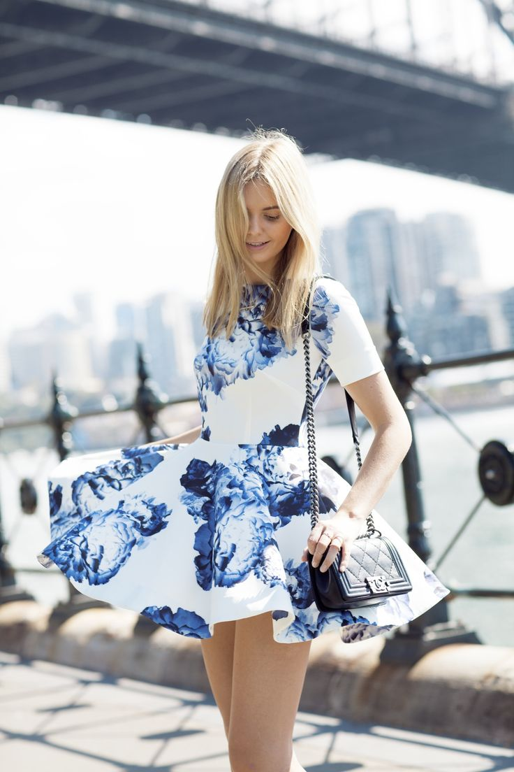 Spring / Summer - street chic style - casual style - party style - white and blue floral print elbow length sleeve skater dress + black crossbody bag
