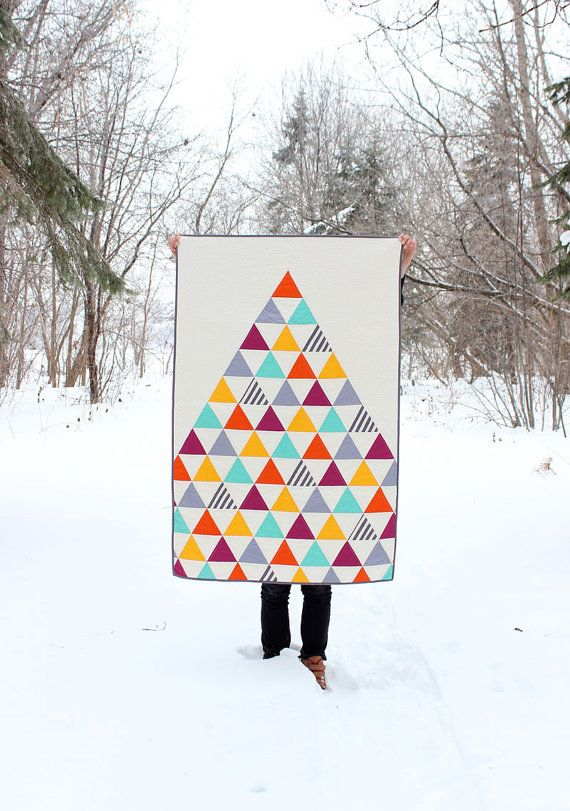 Homemade Triangle Baby Quilt / Toddler Quilt by MelissaHevey, $180.00