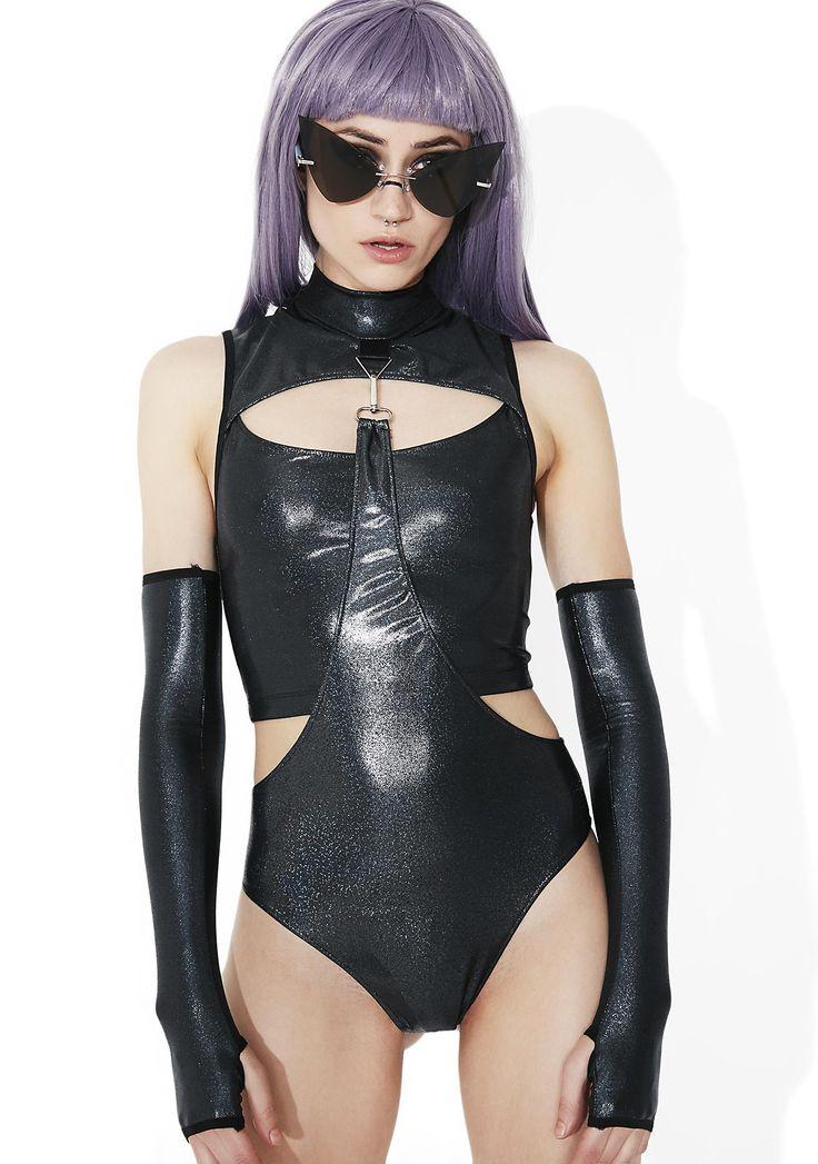 "CLUB EXX ""Shadow Trance"" gauntlet bodysuit - size L (SOLD)"