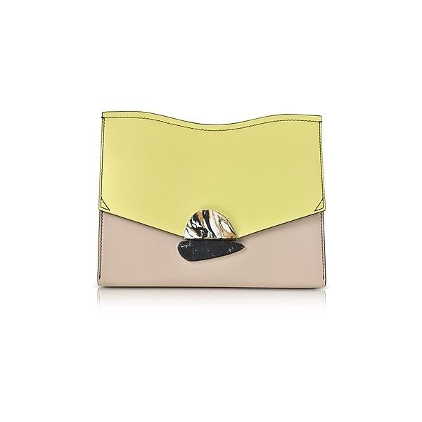 Proenza Schouler Designer Handbags Smooth Colorblock Leather Medium... ($995) ❤ liked on Polyvore featuring bags, handbags, clutches, yellow, leather envelope clutch, handbag purse, leather purses, yellow clutches and envelope clutch