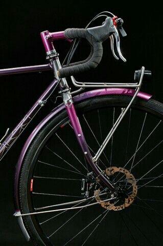 Columbus Zona frame with internal brake cable routing and Paragon Machine Works Low Mount dropouts. Schmidt SON dynamo hub, Busch & Muller IQ-X and seat post integrated rear lamp. Custom stainless front rack and stem.  #pilisiecki #crossbicycle #columbus #schmidt #dtswiss #selleitalia #pi #custom #bikerack #bicyceframe #bespoke #newbike #pink #eggplant #bikeporn #gravel #steelisreal #steel #trp #chrisking #ritchey #brooks #retroshift #paragonmachineworks #columbusXCR
