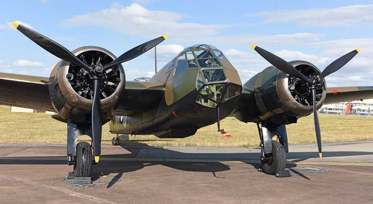 The newly restored Bristol Blenheim Mk.I performed a Battle of Britain tribute at Royal International Air Tattoo 2015, at RAF Fairford.