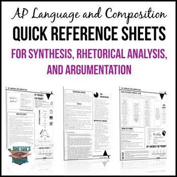 These student reference sheets for synthesis, rhetorical analysis, and argumentation are an easy-to-use tool that AP Language and Composition students will turn to again and again. Perfect for introducing the course, teaching each essay, or end-of-the-year review, these cheat sheets are available in an attractive, print-and-go format.Each quick reference sheet includes information about the AP Language and Composition exam, tips for unpacking the tasks involved in each essay, and…