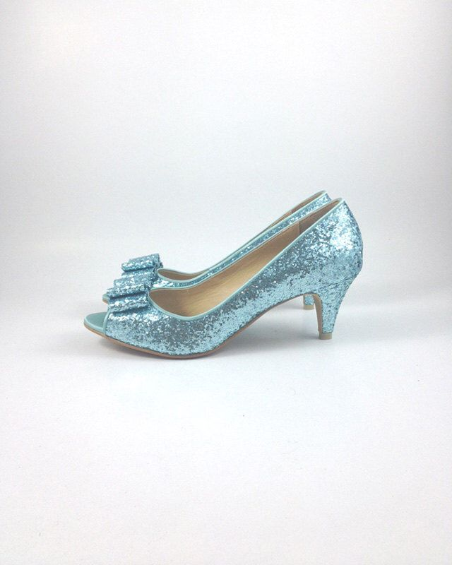 Something Blue Wedding Shoes Glitter Light Robin