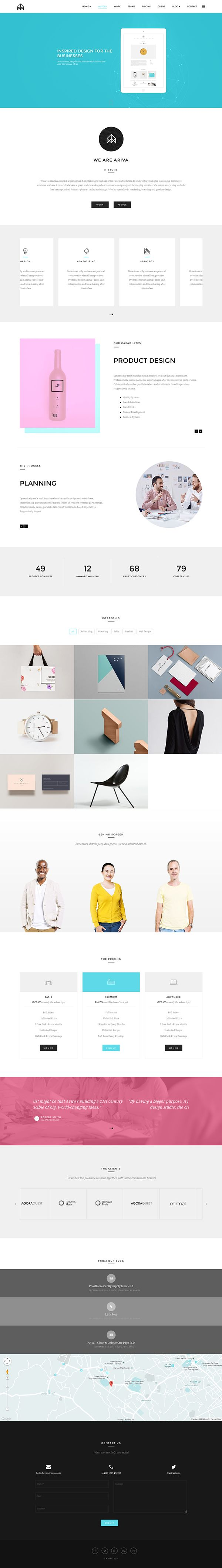 Ariva - Onepage for Team, Band, Group, Company on Behance