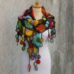 Colorful Crochet Shawl With Flower Motifs On Black Background Kovale/Shop/Etsy.com