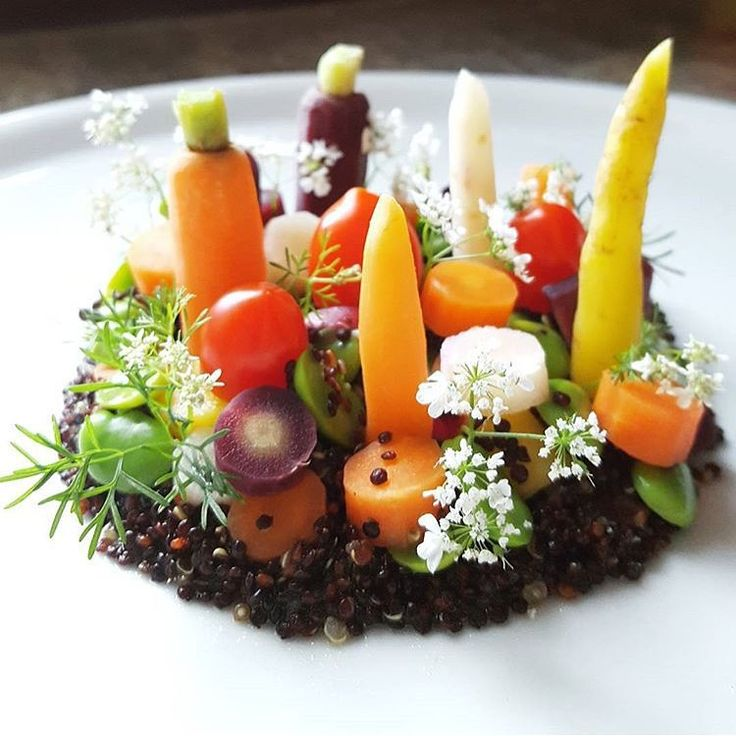 Fresh Garden Salad - Black quinoa, heirloom carrot, broadbean, radish, tomato, coriander flower & sesame dressing. ✅ By - @ivin1stbite ✅ #ChefsOfInstagram