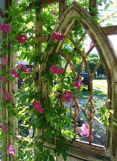 Add an old ornate window to a garden trellis. Oh we have seriously fallen in love with this:) It's not a gate but we had to pin!
