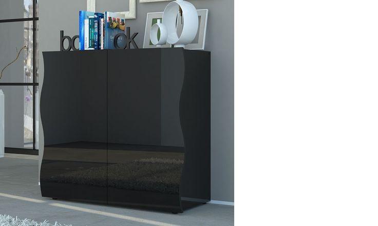 Buffet design noir laqué design 2 portes PANGO | Buffet design ...