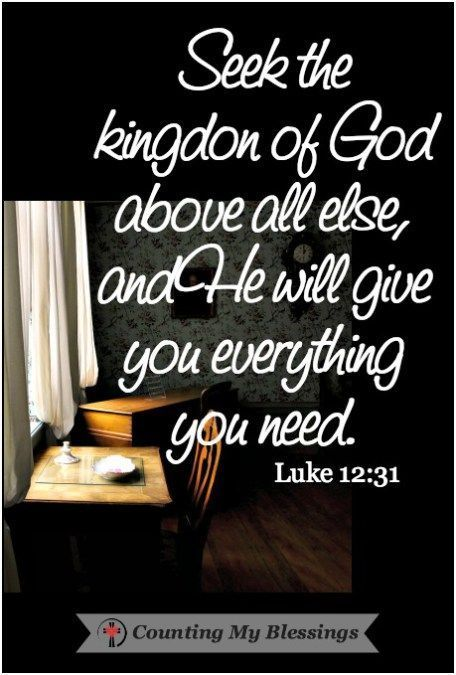 Seek the Kingdom of God above all else, and He will give you everything you need. So don't be afraid, little flock. For it gives your Father great…