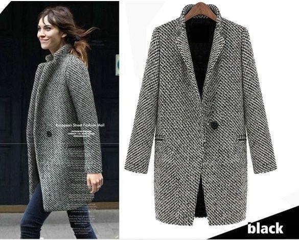 #Cappottodonna lungo spigato,Women Lapel Trench Faux Wool Cashmere Long #Coat