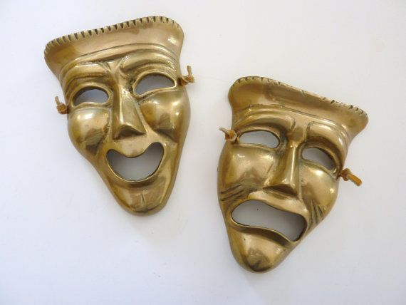 VTG Pair of Theatrical Masks  Brass  Wall Hanging