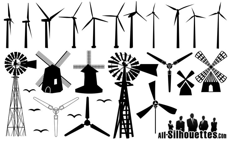 20 Windmill Silhouettes