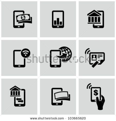 stock vector : Mobile banking icons set. Pay by mobile. E-commerce.