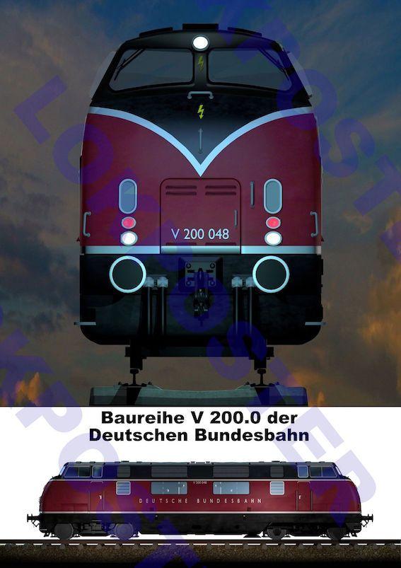 Poster, Eisenbahnplakat der V 200 der Deutschen Bundesbahn, Lokposter | eBay