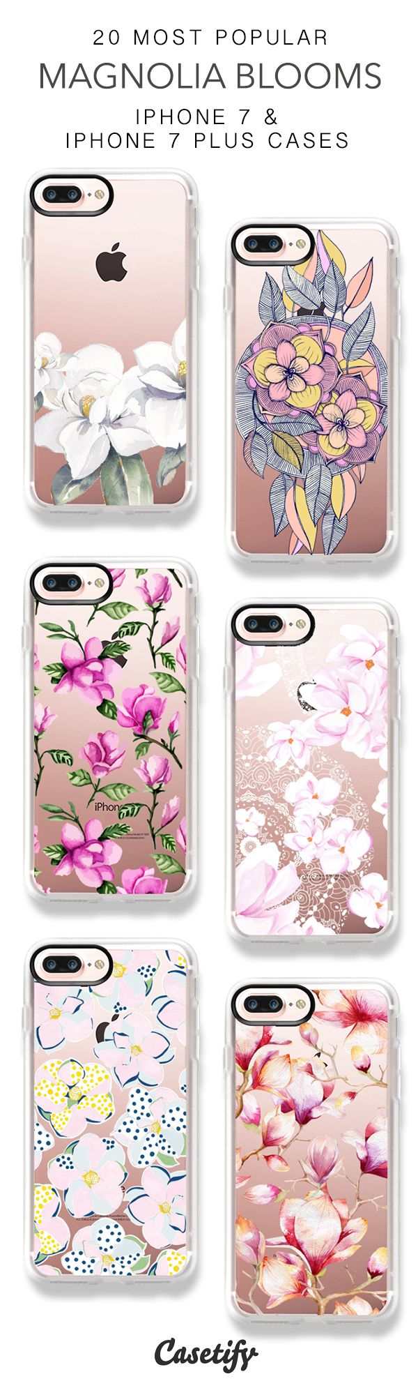 20 Most Popular Magnolia Blooms Protective iPhone 7 Cases and iPhone 7 Plus Cases. More Flower iPhone case here > https://www.casetify.com/collections/top_100_designs#/?vc=YuBDTcGKNC