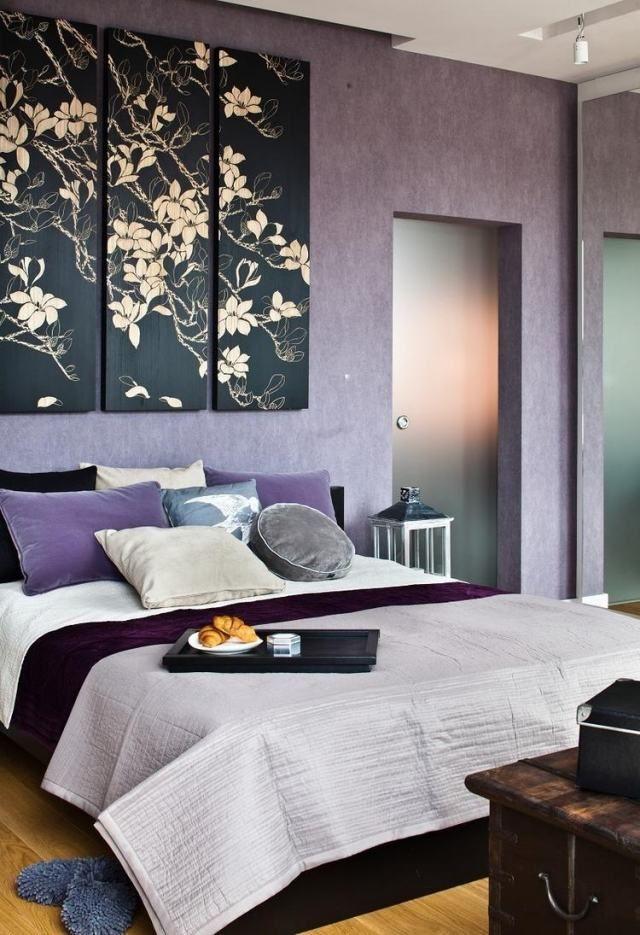 Vintage wandfarbe schlafzimmer flieder deko blumen motive