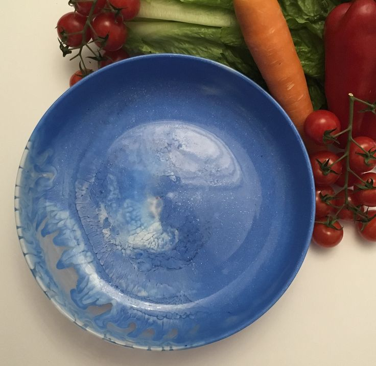 Salad bowl - blue and white