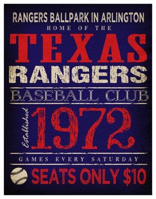 Texas Rangers Print -  11x14 - Rangers Ballpark in Arlington Poster