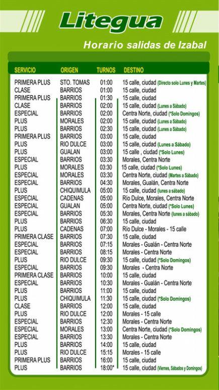 bus schedule - guatemala city to puerto barrios