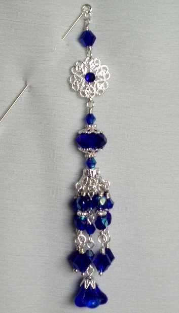 Cobalt Blue Luxury Dangle Hijab Pin/Hat Pin by jewels4hijabs