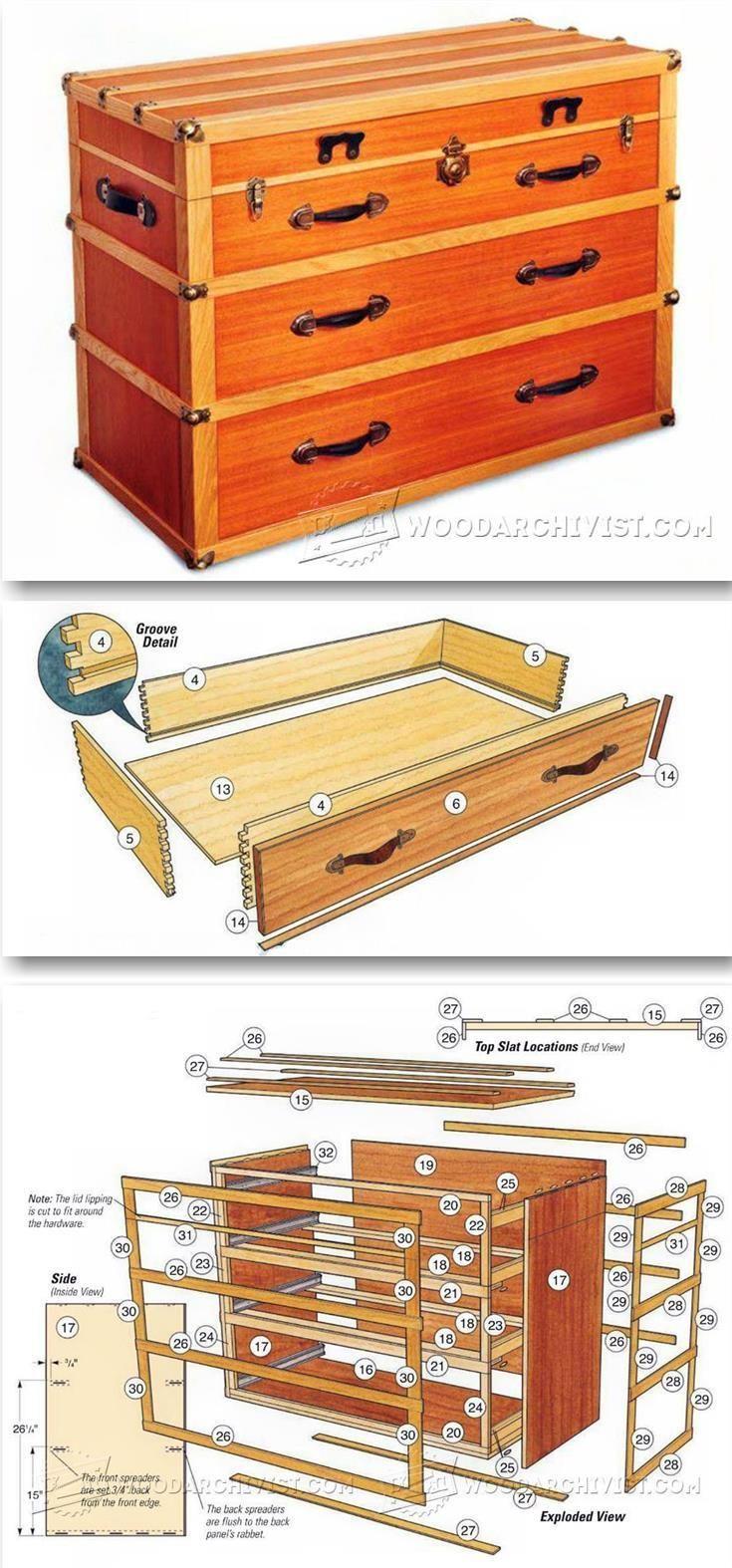 Steamer Trunk Dresser Plans - Furniture Plans and Projects | WoodArchivist.com