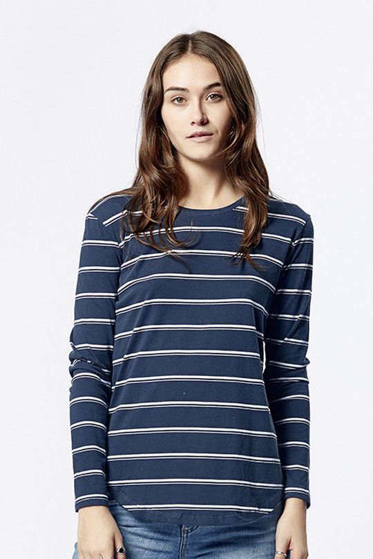 casa kuma - Saddle Hem Long Sleeve Indian Stripe