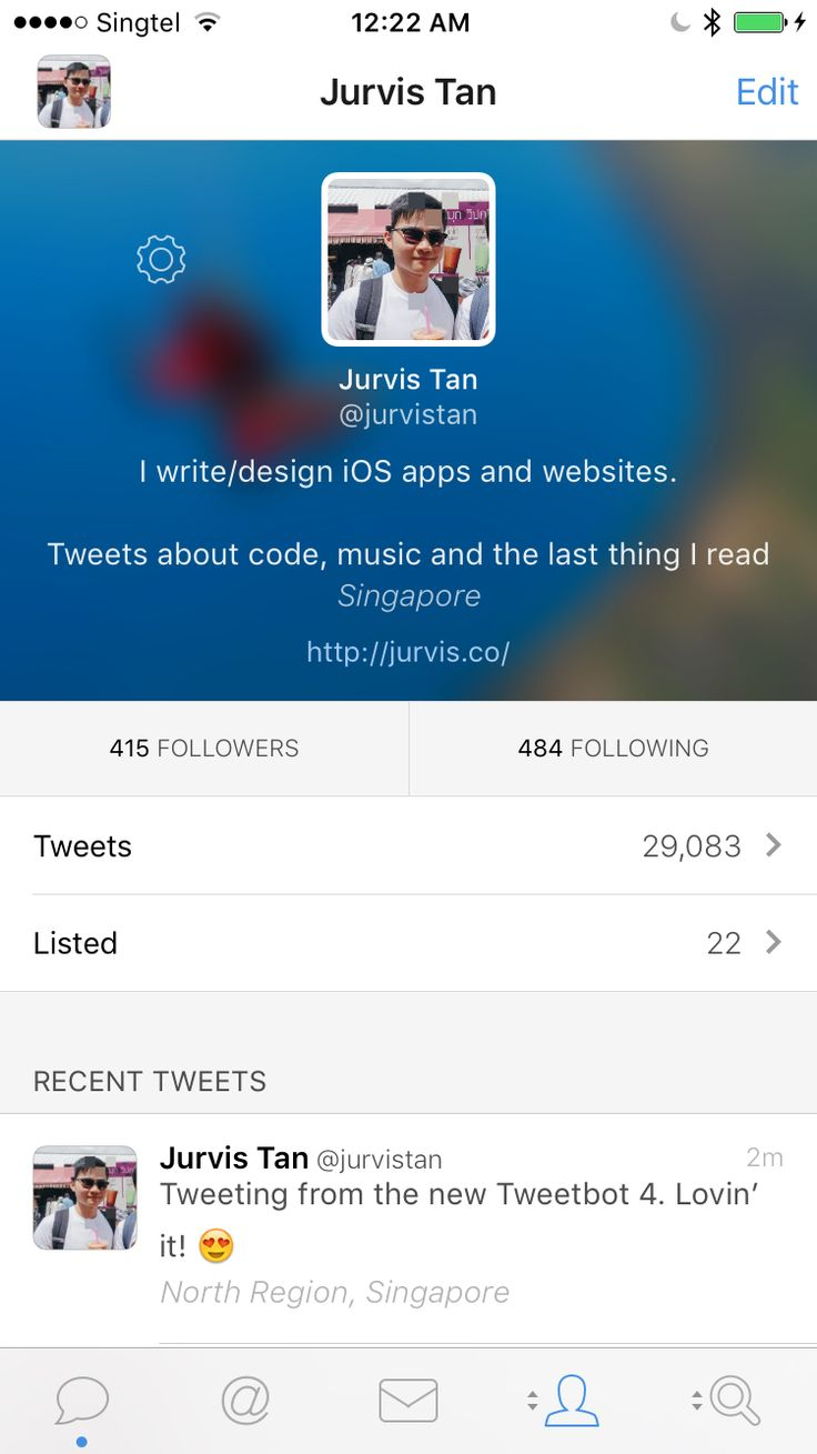 Profile (day) view on Tweetbot 4