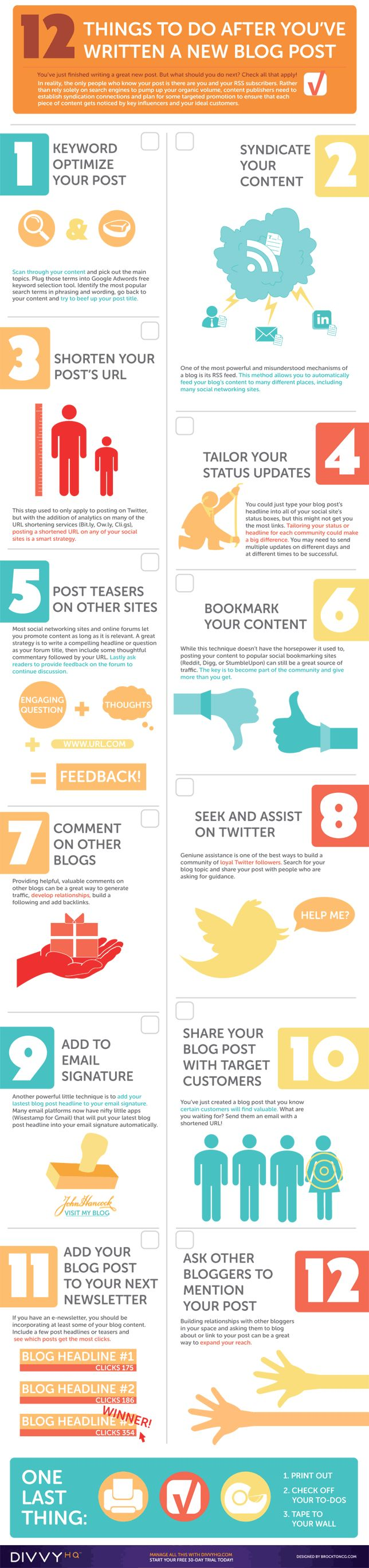 """[infographic] """"12 Things to do after you've written a new Blog post"""" May-2011 by Brocktoncg.com"""