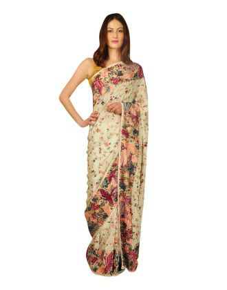 Parsi Gara Hand Embroidered Pure Crepe Saree (Made On Order)