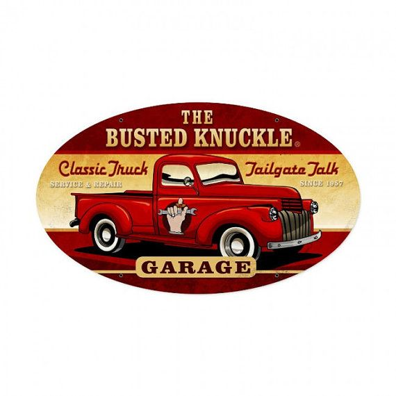 Vintage metal sign oval Busted Knuckle by HeritagePrimitives