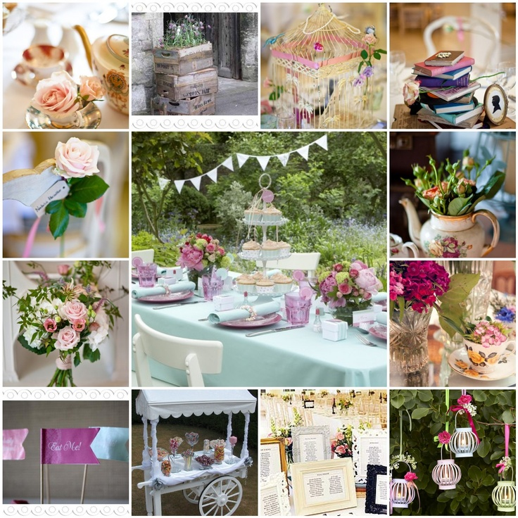 Garden party wedding theme ideas alice in wonderland for Backyard engagement party decoration ideas