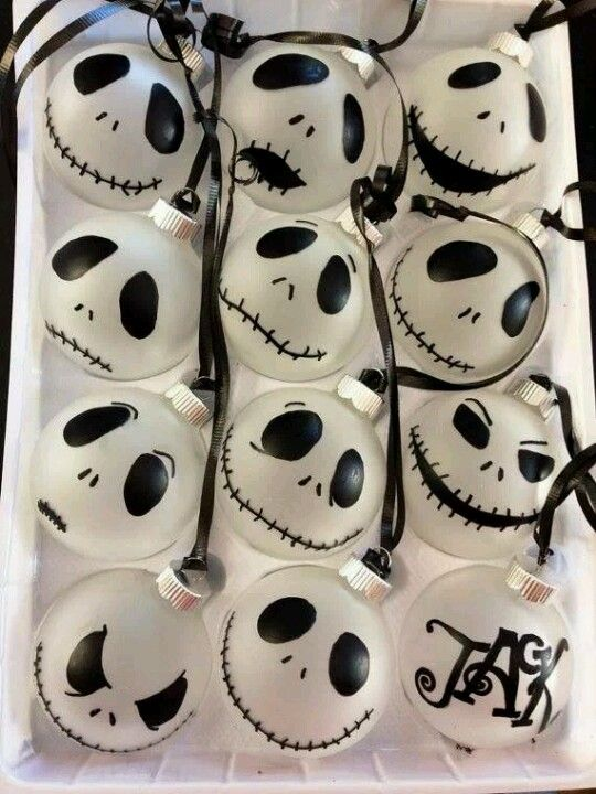 Nightmare Before Christmas ornaments made from ping pong balls, fairy lights and a marker: