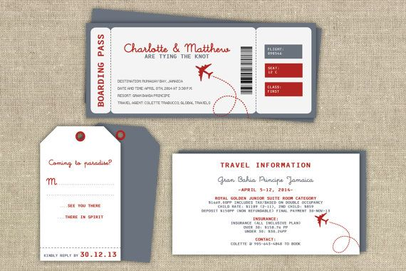 Boarding pass invitation set by ATLovelyDesigns on Etsy, $7.00
