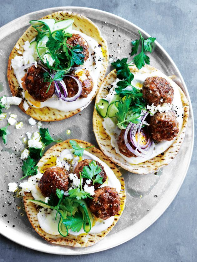 Lamb And Feta Meatball Flatbreads | Donna Hay | In a hurry? Squeeze sausage meat out of its casing, add a bit of feta, roll it up and you've got yourself some super tasty meatballs – half the time and double the flavour than if you started from scratch! time-saving trick for these lamb and feta meatball flatbreads