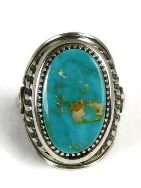 Natural Royston Turquoise Ring Size 10 by Derrick Gordon, Men's turquoise rings from www.southwestsilvergallery.com #turquoiserings #turquoisejewelry