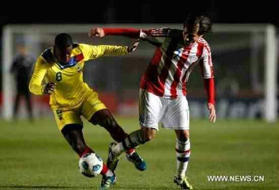 Ecuador 0 Paraguay 0 in 2011 in Santa Fe. Edison Mendez beats his marker in Group B at Copa America.