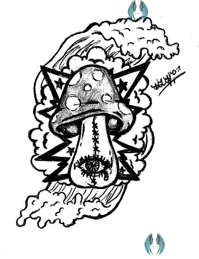 Trippy Sun And Moon Coloring Pages Grey Ink Mushroom Pictures Br In 2020 Moon Coloring Pages Mushroom Pictures Trippy