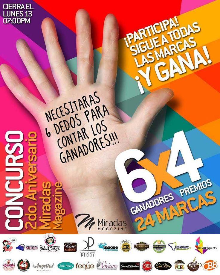 siiii!!! Como lo lees: Necesitarás 6 dedos para contar los ganadores!!! Seguimos celebrando nuestro 2do aniversario con este #Megaconcurso . Donde tendremos 6 GANADORES CON 4 PREMIOS CADA UNO!. 6x4 Sólo tienes que darle like a esta imagen. Seguir a las marcas patrocinantes. mencionar a 4 amig@s  Utiliza la etiqueta #Miradas2doAniversario . @miradasmagazine @dulceysalaocatering @enorigami @ellavienecontodo @carterademujer @kcaocakes @confeccionespeggy @moosenomada @costurayvida @aventuracafe…