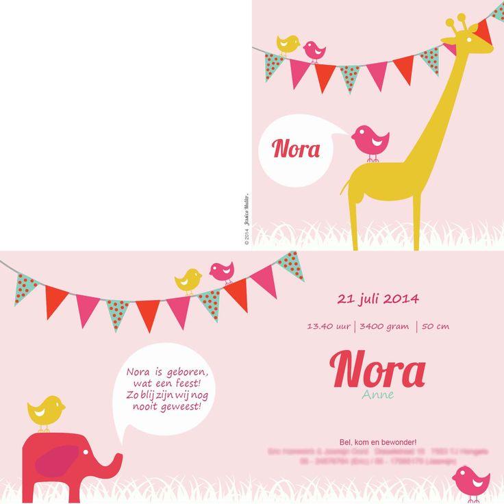 Geboortekaart ontworpen voor de 1e dochter van mijn goede vriendin.