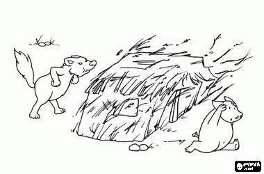 Grote Boze Wolf blaast en blaast totdat het huis van stro breekt en de jongere broer vluchtte draaien kleurplaat