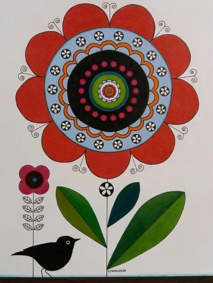 Drawing in ink and colour pencils. Flower with bird. Tecknad blomma och fågel i tusch och färgpennor