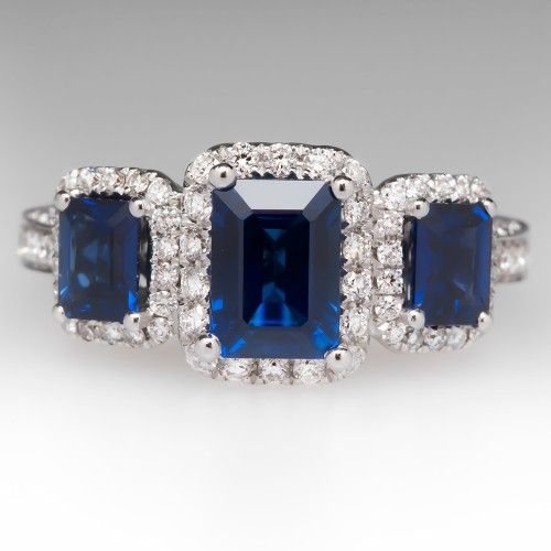 Spark Three Stone Blue Sapphire Diamond Ring 18K