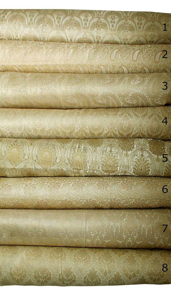 Creme and gold bundle of indian silk brocade set of 8 fat quarters