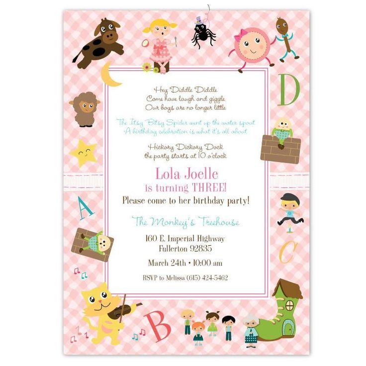 Nursery Rhymes Birthday Invitations